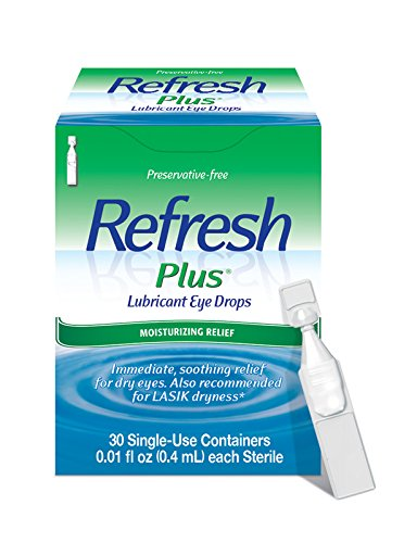 Refresh Plus Lubricant Eye Drops, 30 Single-Use Containers, 0.01 fl oz (0.4mL) Each Sterile