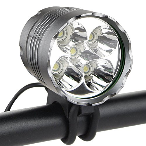 Weihao Bike Light, 6000 Lumen 5 LED Bicycle Headlight, Waterproof Mountain Bike Front Light Headlamp with 6400mAh Rechargeable Battery Pack, AC Charger
