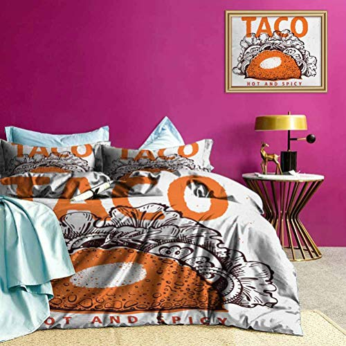 Adorise Duvet Cover Set Hot and Spicy Tacos Boys Bedding Sets for Guest Room - Twin Size