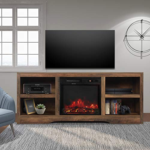 ENSTVER Media Storage TV Stand with Electric Fireplace for TVs up to 65',Living Room Television Console (Rustic Oak)