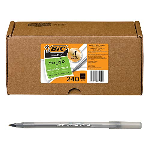 BIC Round Stic Xtra Life Ball Pen, Medium Point (1.0mm), Assorted Colors, 240-Count