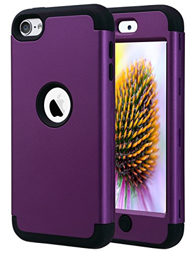 ULAK iPod Touch 7th Generation Case, iPod Touch 6 Case, Heavy Duty Shockproof High Impact Protective Case with Dual Layer Soft Silicone + Hard PC for Apple iPod Touch 7/6/5, Purple