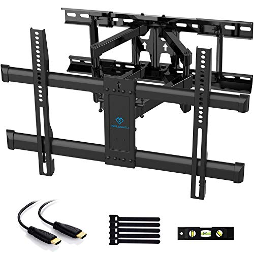 """PERLESMITH Full Motion TV Wall Mount for Most 37-70 Inch TVs up to 132lbs - Fits 16"""", 18"""", 24"""" Wood Studs - Articulating TV Mount Dual Arms with Tilts, Swivels & Extends 16"""", Max VESA 600x400mm"""