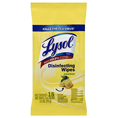 Lysol Disinfecting Wipes To-Go Pack, Lemon Scent, 15 Count (Pack of 6)
