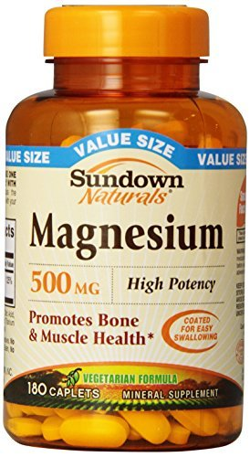 Sundown Naturals Magnesium 500 Mg Caplets Value Size, 180 Count by Sundown