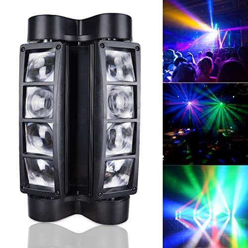 Betopper Moving Head Lights, 8 x 3W RGBW DJ lights Quick Dual Sweeper Stage Lights Portable DMX-512 Mini Light LED Lighting for Parties, Live, DJ show, Club Bar, Disco, Wedding