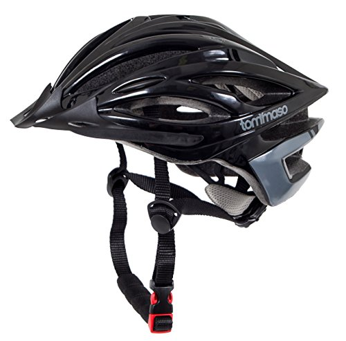 Tommaso Ombra Lightweight Cycling Helmet Removable Visor Road & MTB Bike Adjustable Fit 4 Colors Black,Matte Black,White,Titanium Certified Safety Protection - Gloss Black - S/M