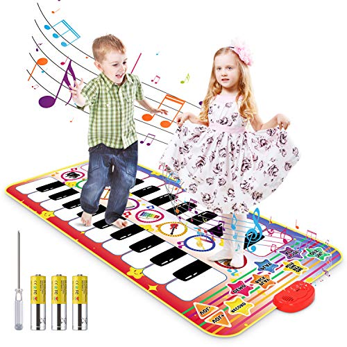 Magicfun Kids Electronic Piano Mat, Duet Musical Keyboard Toy for 1 2 3+ Years Old Boy Girl, Double-Way Dance Learn Pad with 8 Instrument Sounds, Early Education Playmat for Toddler Gift(55.1x27.5 in)