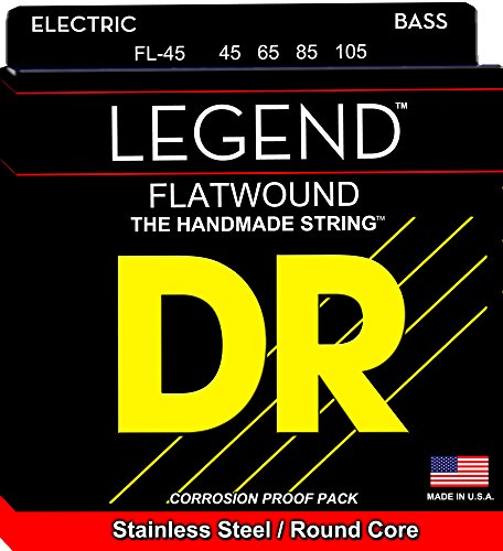 DR Strings Flatwound Stainless Steel Round Core Bass 45-105 Strings