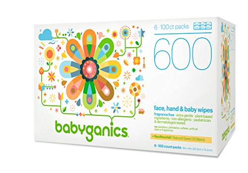 Babyganics Baby Wipes, Unscented, Packaging may vary, 100 Count (Pack of 6)