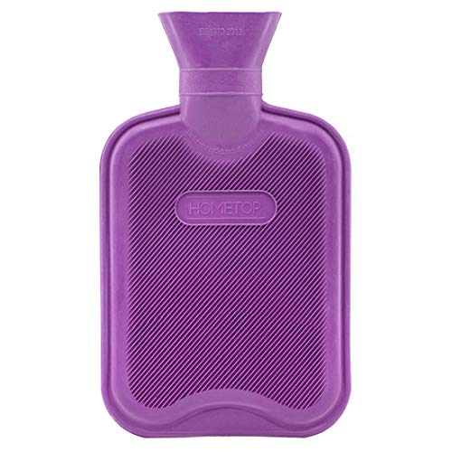 HomeTop Premium Classic Rubber Hot Water Bottle, Great for Pain Relief, Hot and Cold Therapy (1L, Purple)