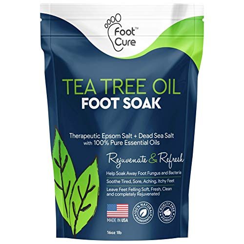 Foot Cure Tea Tree Oil Foot SOAK with EPSOM Salt - Extra Strength Formula - for Toenail Fungus, Athletes Foot, Stubborn Foot Odor Scent, Fungal, Softens Calluses & Soothes Sore Tired Feet