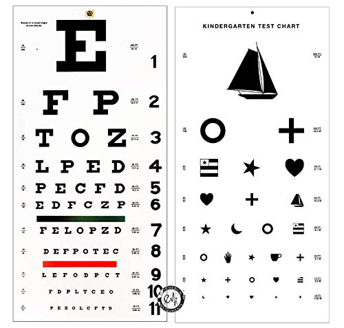Elite Medical Instruments  Kindergarten and Snellen Wall Eye Charts 22' by 11' Combo Pack