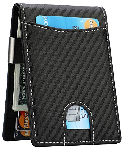 Money Clip Wallet - Mens Slim Front Pocket Leather Wallet RFID Blocking Minimalist Mini Wallet (Carbon Fiber/White Line)