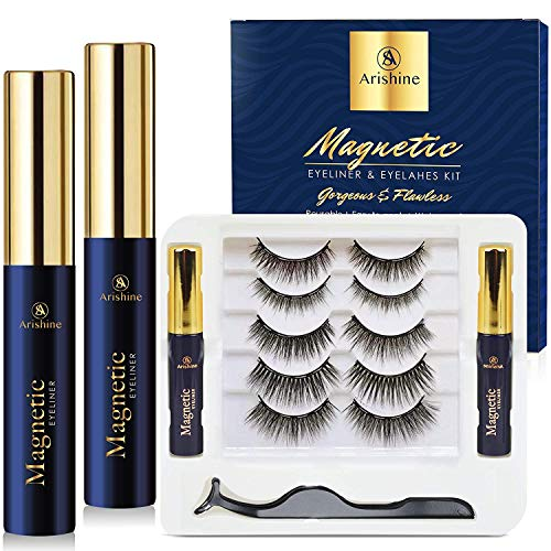 5 Pairs Reusable Magnetic Eyelashes and 2 Tubes of Magnetic Eyeliner Kit, Upgraded 3D Magnetic Eyelashes Kit With Tweezers Inside, Magnetic Eyeliner and Magnetic Eyelash Kit - No Glue Needed