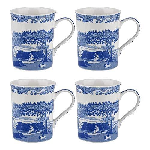 Blue Italian Set of 4 Mugs, Porcelain, Blue and White, 8.5 x 12 x 10.5 cm
