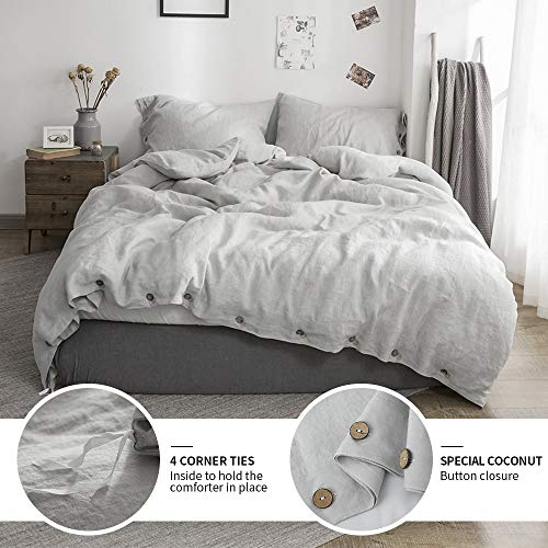 Simple&Opulence 100% Washed Linen Duvet Cover Queen-3 Pcs Solid Natural Flax Bedding Set(1 Comforter Cover+ 2 Pillowcases)-Farmhouse Comforter Set with Coconut Button Closure-Grey