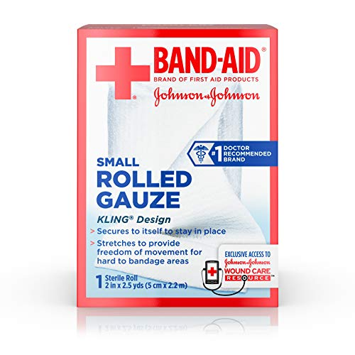 Band Aid Brand of First Aid Flexible Rolled Gauze Dressing for Minor Wound Care, soft Padding and Instant Absorption, 2 Inches by 2.5 Yards (Pack of 3)