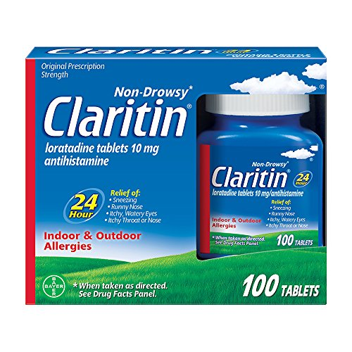 Claritin 24 Hour Allergy Medicine, Non-Drowsy Prescription Strength Allergy Relief, Loratadine Antihistamine Tablets, 100 Count
