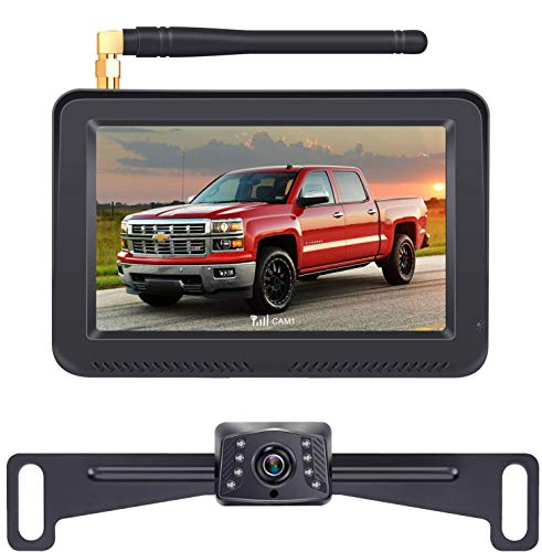 LeeKooLuu F13 HD 1080P Digital Wireless Backup Camera High-Speed Observation System Hitch Rear View Camera Front View Camera 5'' Monitor Two Video Channels with Grid Lines DIY Setting
