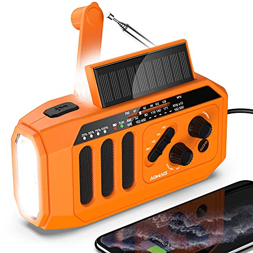 AOMAIS Emergency Solar Hand Crank Radio, 5000mAh NOAA/AM/FM Portable Weather Radio, Outdoor Survival Kit with LED Flashlight, Reading Lamp, Cell Phone Charger, SOS Alarm for Home/Camping/Emergency