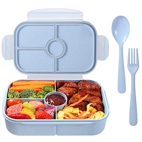 Bento Box for Kids Lunch Containers with 4 Compartments Kids Bento Lunch Box Microwave/Freezer/Dishwasher Safe (Flatware Included,Light Blue)