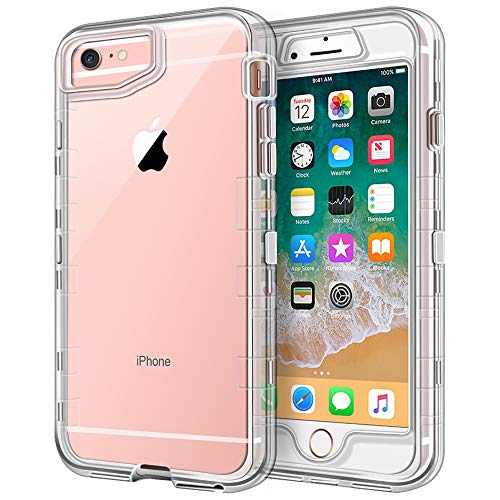 iPhone 6S Case, iPhone 6 Case, Anuck Crystal Clear 3 in 1 Heavy Duty Defender Case Shockproof Full-Body Protective Case Hard PC Shell & Soft TPU Bumper Cover for Apple iPhone 6 /iPhone 6S 4.7', Clear