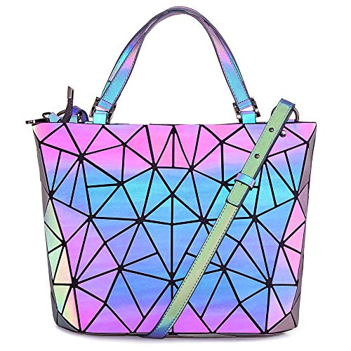 HotOne Geometric Purse Holographic Purse and Handbag Color Changes Luminous Purse for Women (M Purse Only)