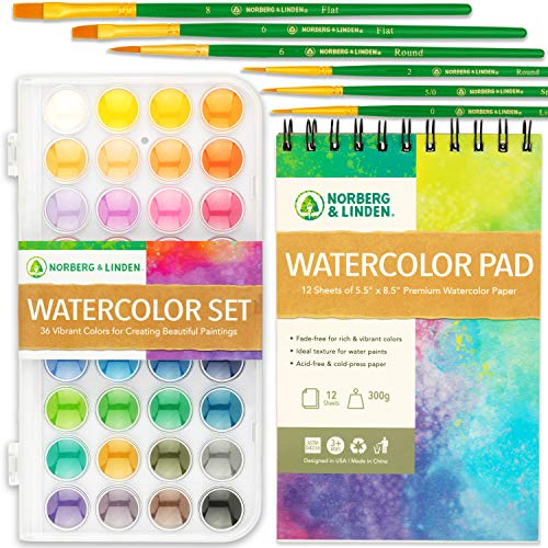 Norberg & Linden Watercolor Paint Set - 36 Premium Paints - 12 Page Pad - 6 Brushes - Painting Supplies with Palette, Watercolors, Art Pad Paper and Artist Brushes for