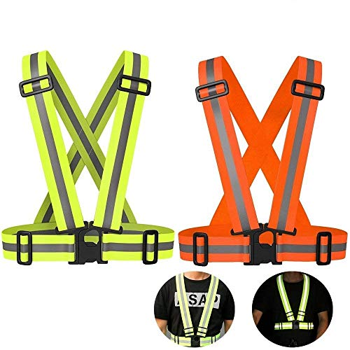 AUOON Reflective Running Vest,Safety Reflective Vest with Adjustable Strap for Running,Cycling, Motorcycle and Walking,Fits Over Outdoor Clothing,Breathable Waterproof Lightweight (2 Pack)