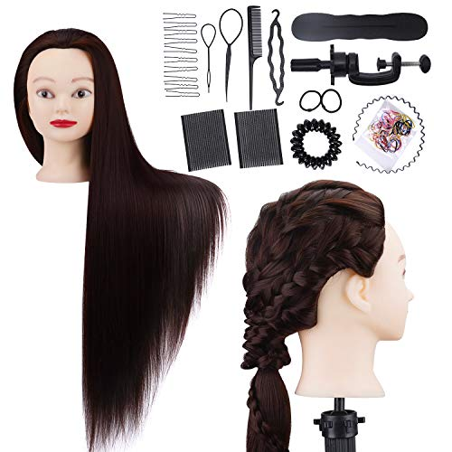 Hairdressing Training Head RLUOHA 30 inch Mannequin Head Hairdresser for Practicing Stying Synthetic Fiber Long Hair Manikin Dolls Head with Free Clamp+ Braid Set for Children, Cosmetology Students