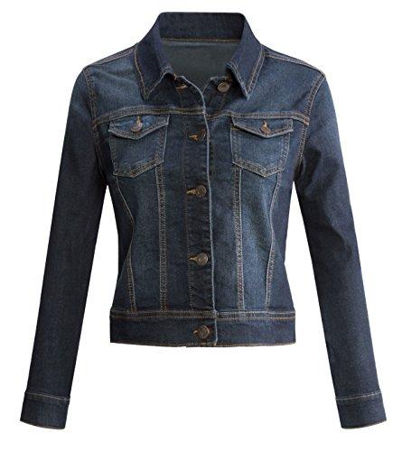 URBAN K Womens Long-Sleeve Button Up Denim Jean Jacket (S-3XL)