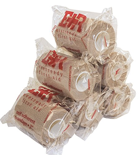 Ever Ready First Aid Self Adherent Cohesive Bandages 3' x 5 Yards - 6 Count, Tan