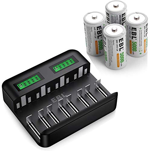 EBL 8 Bay LCD Universal Battery Charger C9008 with C Batteries High Energy 5000mAh 4 Counts