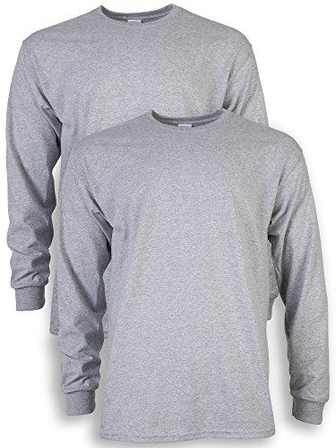 Gildan Men's Ultra Cotton Adult Long Sleeve T-Shirt, 2-Pack, Sport Grey, Large