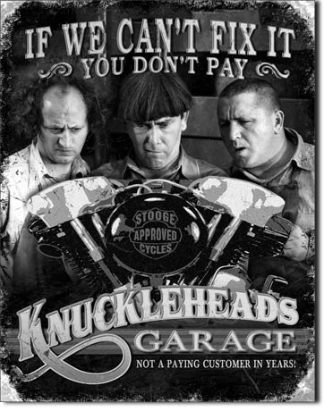 New Knuckleheads Motorcycle Stooges Garage 16' x 12.5' (D1687) Retro Weathered Appearance Tin Sign