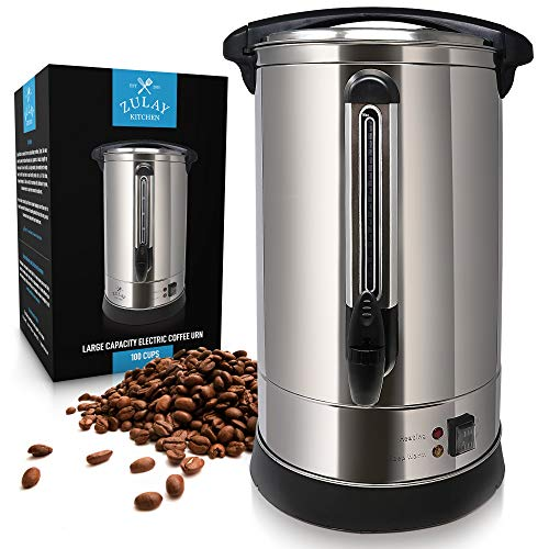 Zulay Premium Commercial Coffee Urn - Stainless Steel Large Coffee Dispenser for Quick Brewing -Automatic 100 Cup Capacity - Ideal for Large Crowds - Perfect for AnyOccasion