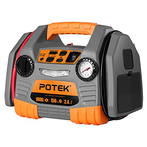 POTEK Car Jump Starter with 150 PSI Tire Inflator/Air Compressor,1000 Peak/500 Instant Amps with USB Port to Charge iPhone,IPad, Kindle