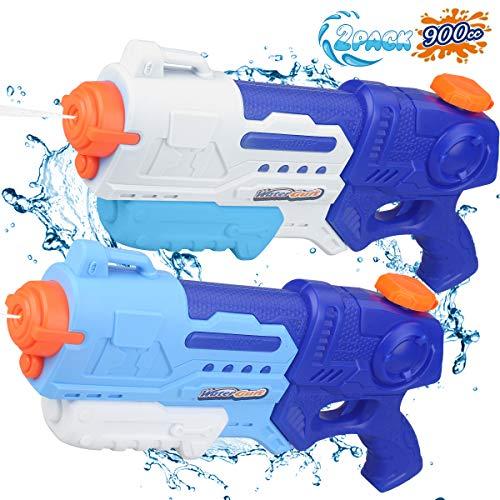 ANDRIMAX Water Gun Squirt Guns 2 Pack 900CC Water Blaster Toy Long Range Water Gun Summer Outdoor Swimming Pool Guns Beach Party Favor Shooter Fight Games Toys for Adults Kids Teens Boys Girls