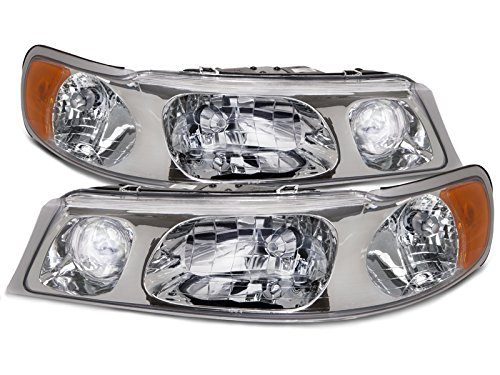 HEADLIGHTSDEPOT Chrome Housing Halogen Headlights Compatible With Lincoln Town Car 1998-2002 Includes Left Driver and Right Passenger Side Headlamps