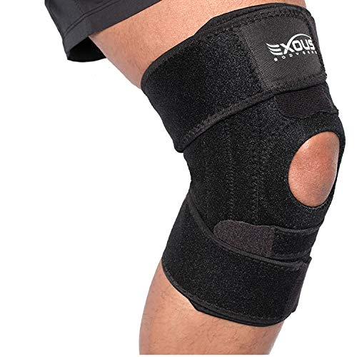 EXOUS Knee Brace Support Helps Patella Tendonitis - Jumpers Knee Side Stabilzation True NON Slip Fit