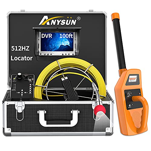Sewer Camera with Locator and Receiver, 100ft 512Hz Sonde Transmitter Plumbing Camera Snake with DVR Recorder, Inspection Cam with 7' LCD Monitor with Fiber Optic Cable Wire (30m/100ft-512Hz)