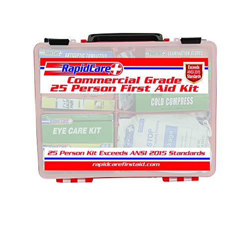 Rapid Care First Aid 839-1-12AN Premium Commercial Grade 25 Person First Aid Kit, Exceeds OSHA/ANSI 2015 Standards, in Detachable Wall Mountable Poly Case
