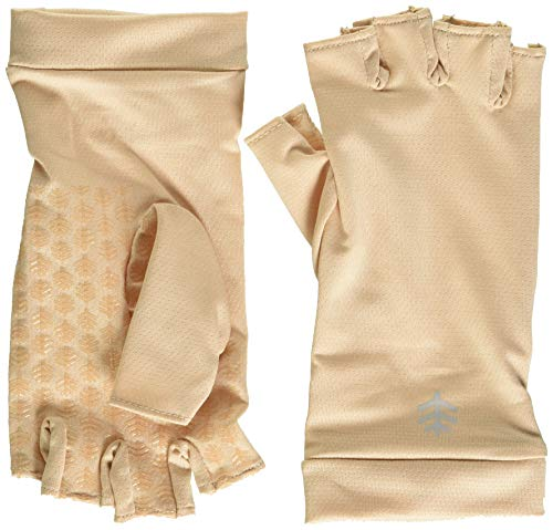 Coolibar UPF 50+ Men's Women's Ouray UV Fingerless Sun Gloves - Sun Protective (Small- Beige)