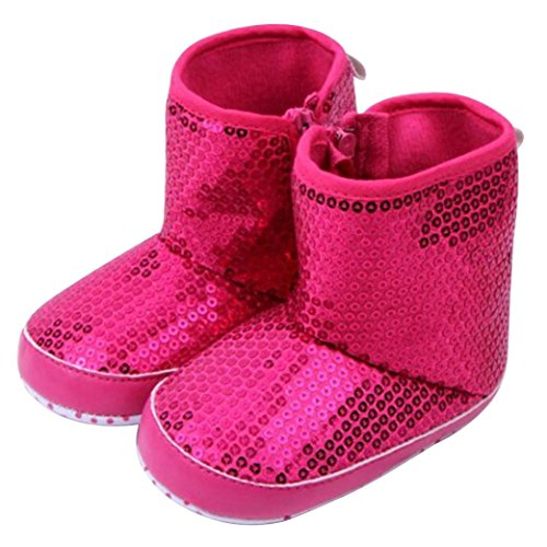 Voberry Baby Girls Knit Soft Fur Winter Warm Snow Boots Sequins Crib Shoes (6-9 months, Hot Pink)