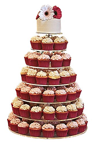 Jusalpha Large 7-tier Acrylic Round Cake Stand-cupcake Stand- Dessert Stand-tea Party Serving Platter for Wedding Party (7R Large)