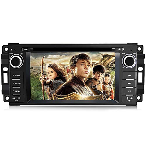 Car Stereo Radio with Bluetooth 6.2 Inch Touch Screen with Mirror Link,Steering Wheel Control,CD,DVD,FM Radio Head Unit for Jeep Wrangler Chrysler Chevrolet Epica Dodge Ram 1500