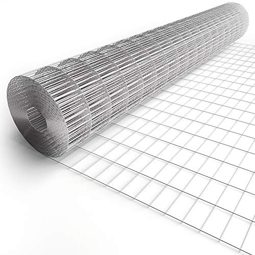 Amagabeli 6ft x 100ft Hardware Cloth 2'X4' Square Openings Hot-Dipped Galvanized Welded 15 Gauge Wire Mesh Fence Roll for Garden Fencing Deer Sheep Animal Enclosure