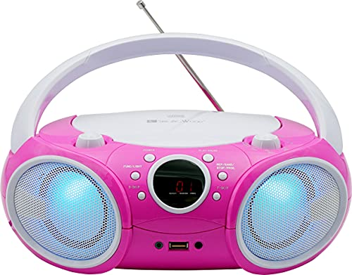 SINGING WOOD, CD Player Boombox CD/CD-R/CD-RW, Portable w/Bluetooth, USB, AM/FM Radio, AUX-Input, Headset Jack, Foldable Carrying Handle and LED Light (Kitty Pink)-New Version 2021