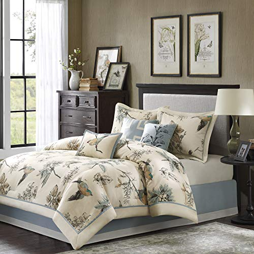 Madison Park Quincy Queen Size Bed Comforter Set Bed in A Bag - Khaki, Jacquard – 7 Pieces Bedding Sets – Ultra Soft Microfiber Bedroom Comforters, Model Number: MP10-758